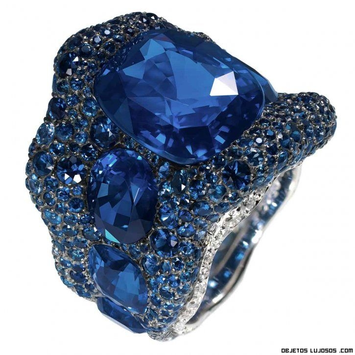 sortijas azules de lujo