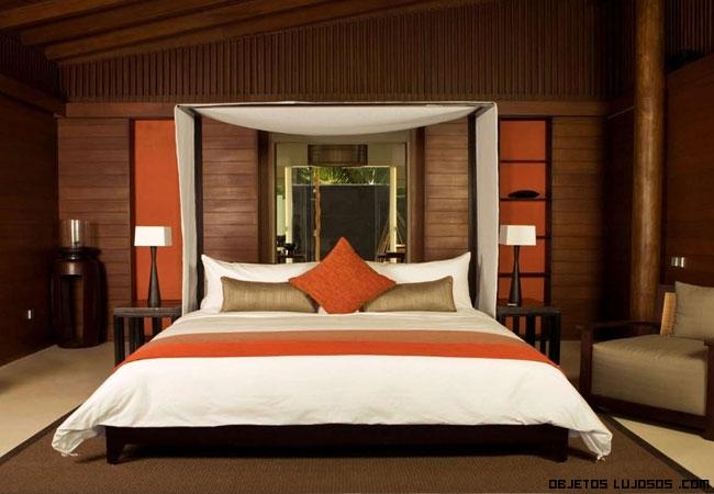 habitaciones en madera y naranja de lujo