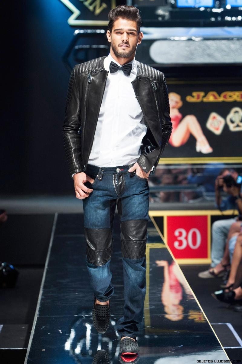 Jeans con cuero