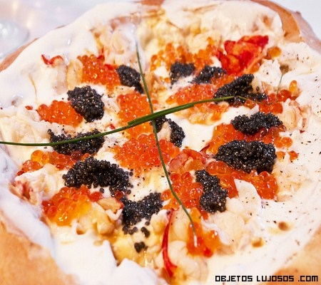 Pizza con caviar