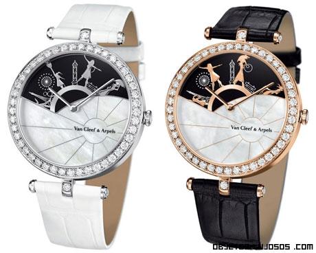relojes blancos y dorados