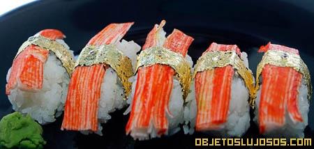 Sushi con oro y diamantes