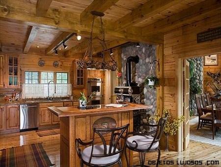 Casas de madera exclusivas for Cocinas grandes rusticas