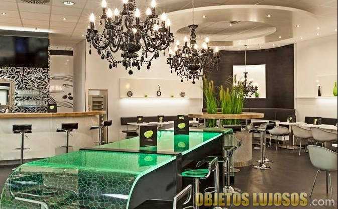 mesa LED para cocina en verde