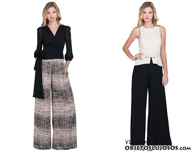 pantalones anchos de tela