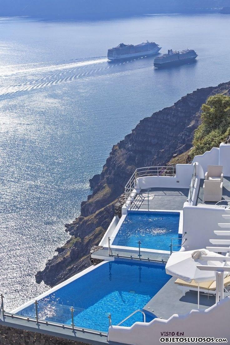 piscinas de hotel en santorini