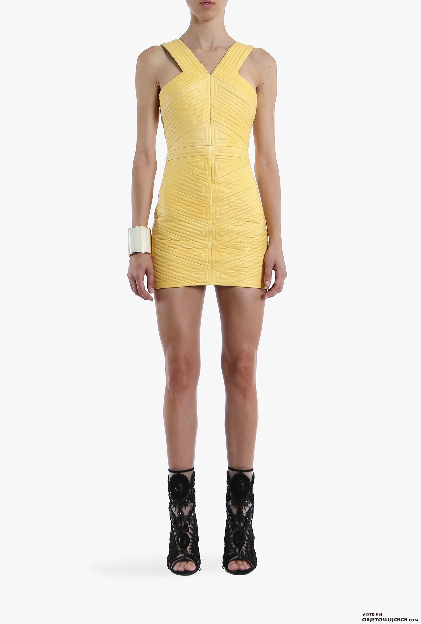 vestido amarillo balmain