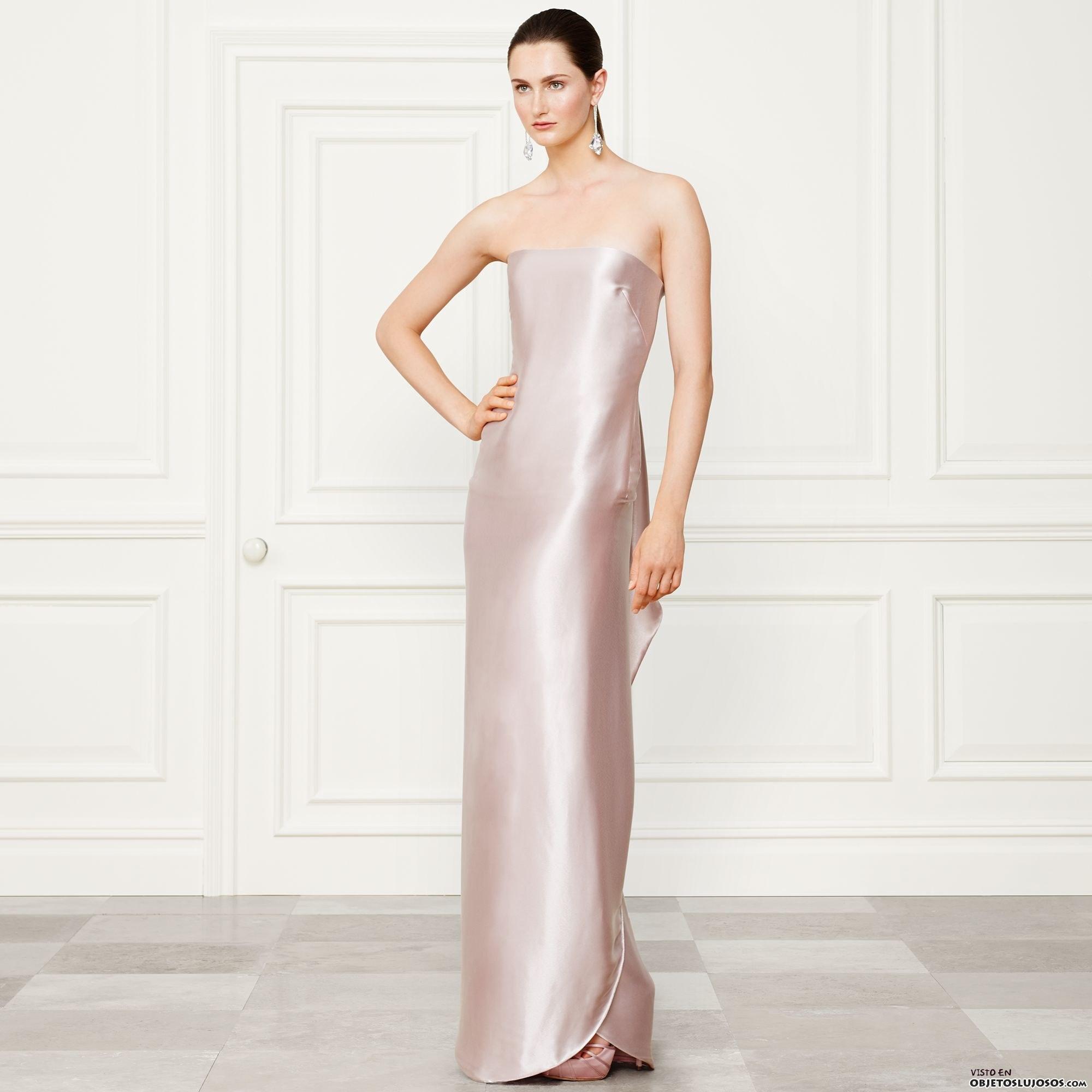 vestido de raso ralph lauren