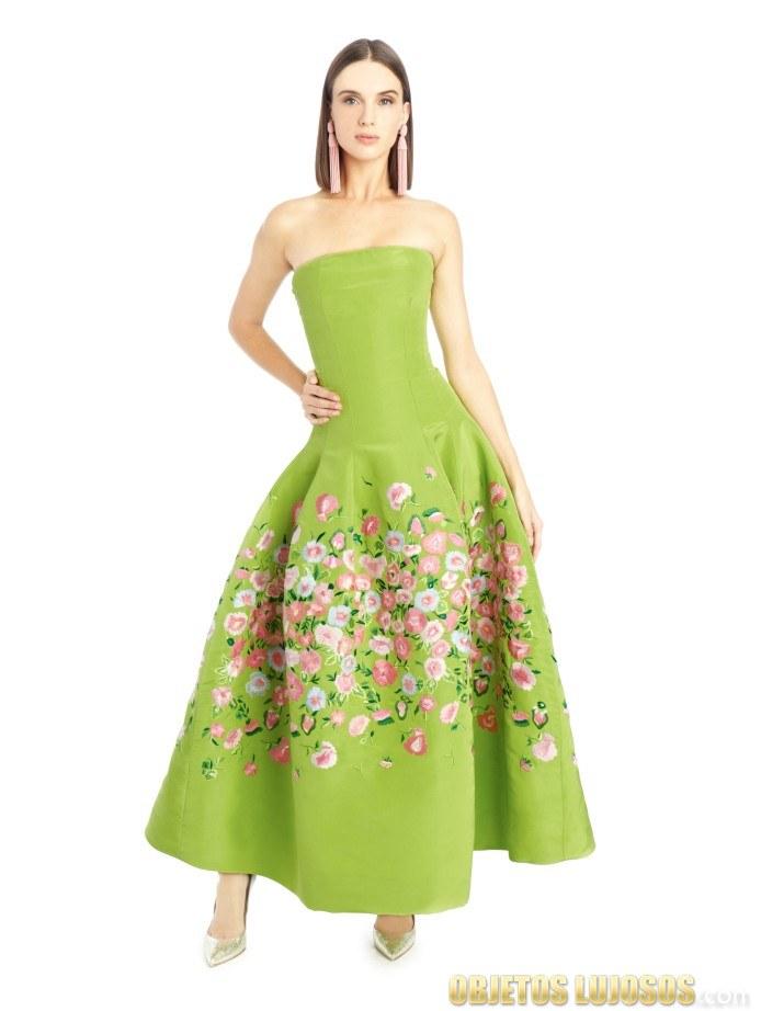 vestido verde con flores de oscar de la renta