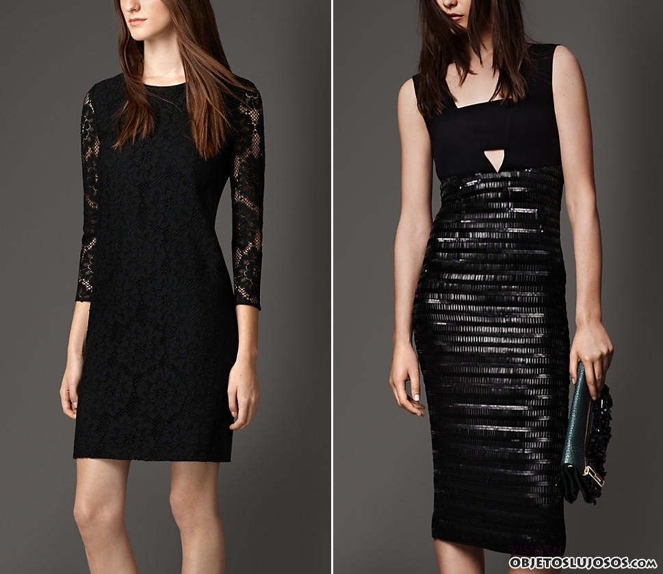 vestidos en negro de burberry