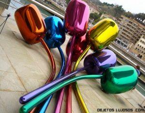 Escultura de lujo en forma de tulipán